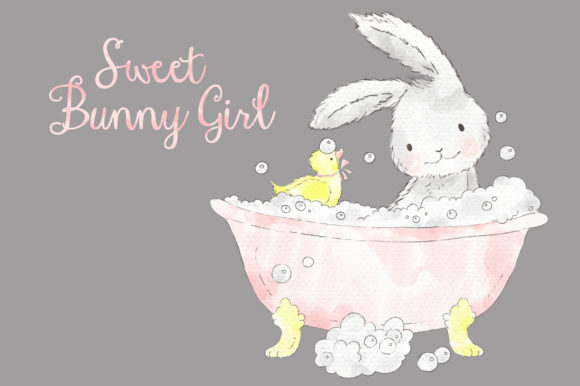 Download Free Sweet Pink Bunny Girl Watercolor Clipart Grafico Por Kabankova for Cricut Explore, Silhouette and other cutting machines.