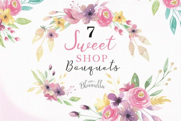 Sweet Shop Bouquets Flowers Floral Set Graphic Illustrations By Bloomella