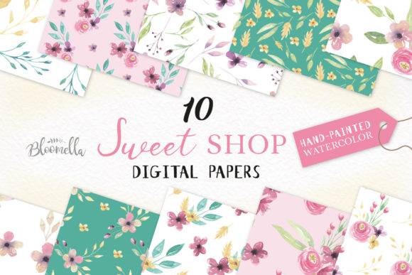 Sweet Shop Flowers Patterns Watercolor Graphic Illustrations By Bloomella