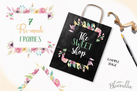 Sweet Shop Frames Floral Watercolor Set Graphic By Bloomella Image 4