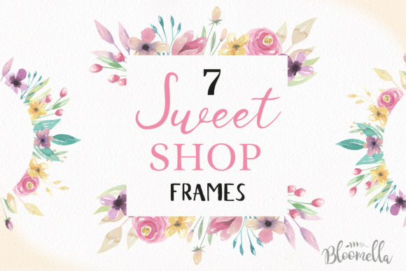 Sweet Shop Frames Floral Watercolor Set Graphic Illustrations By Bloomella