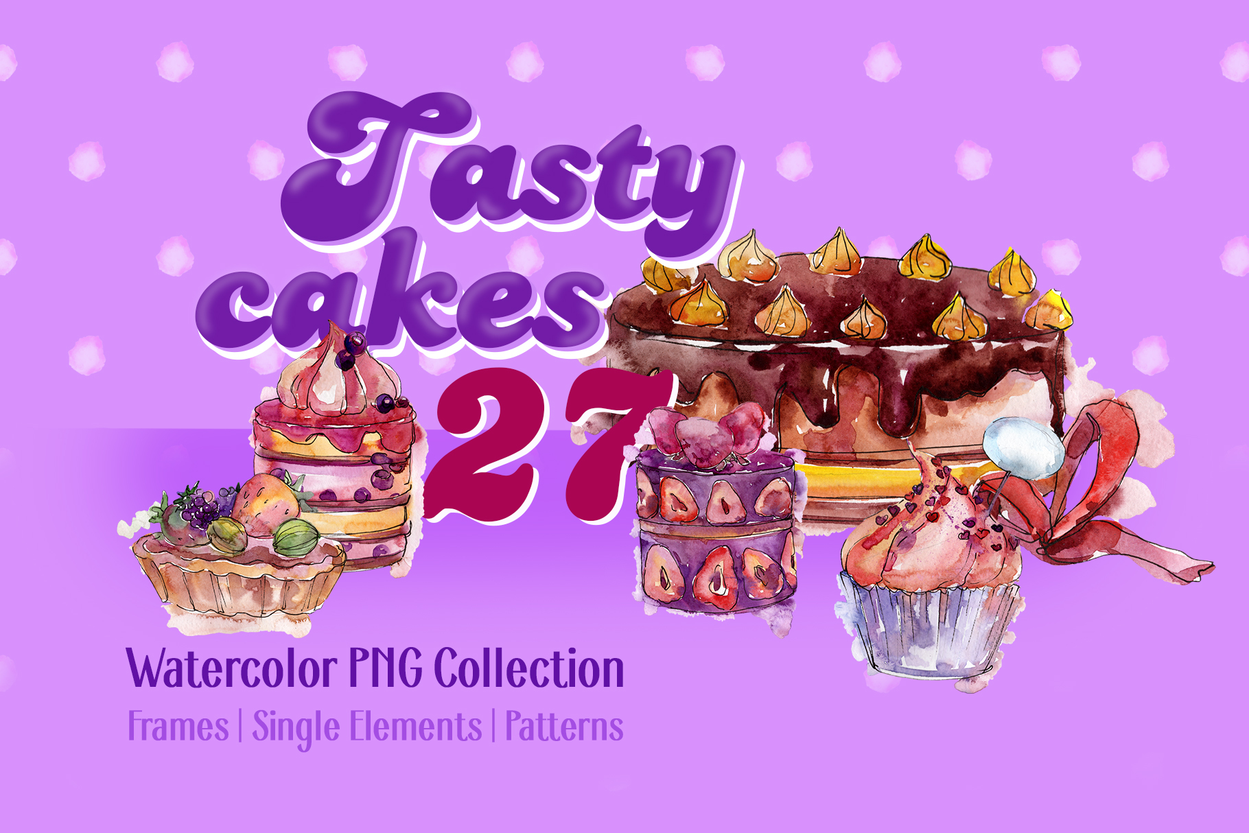 Download Free Tasty Cakes Violet Watercolor Png Graphic By Mystocks Creative SVG Cut Files