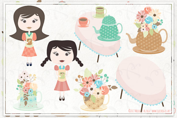 Tea Party Clipart and Vector Graphics Graphic By Michelle Alzola Image 2