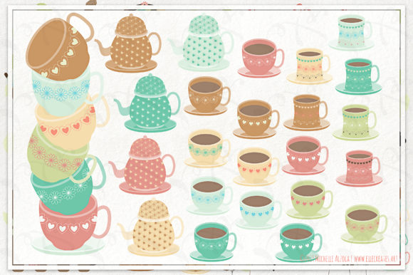 Tea Party Clipart and Vector Graphics Graphic By Michelle Alzola Image 5