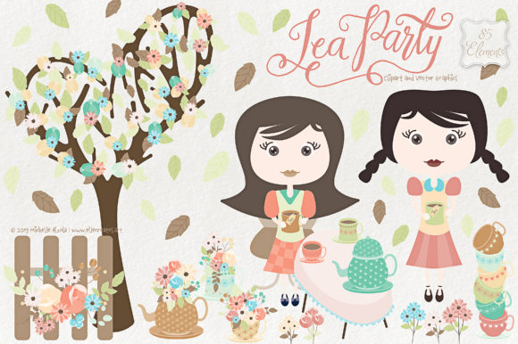 Tea Party Clipart and Vector Graphics Graphic By Michelle Alzola Image 1