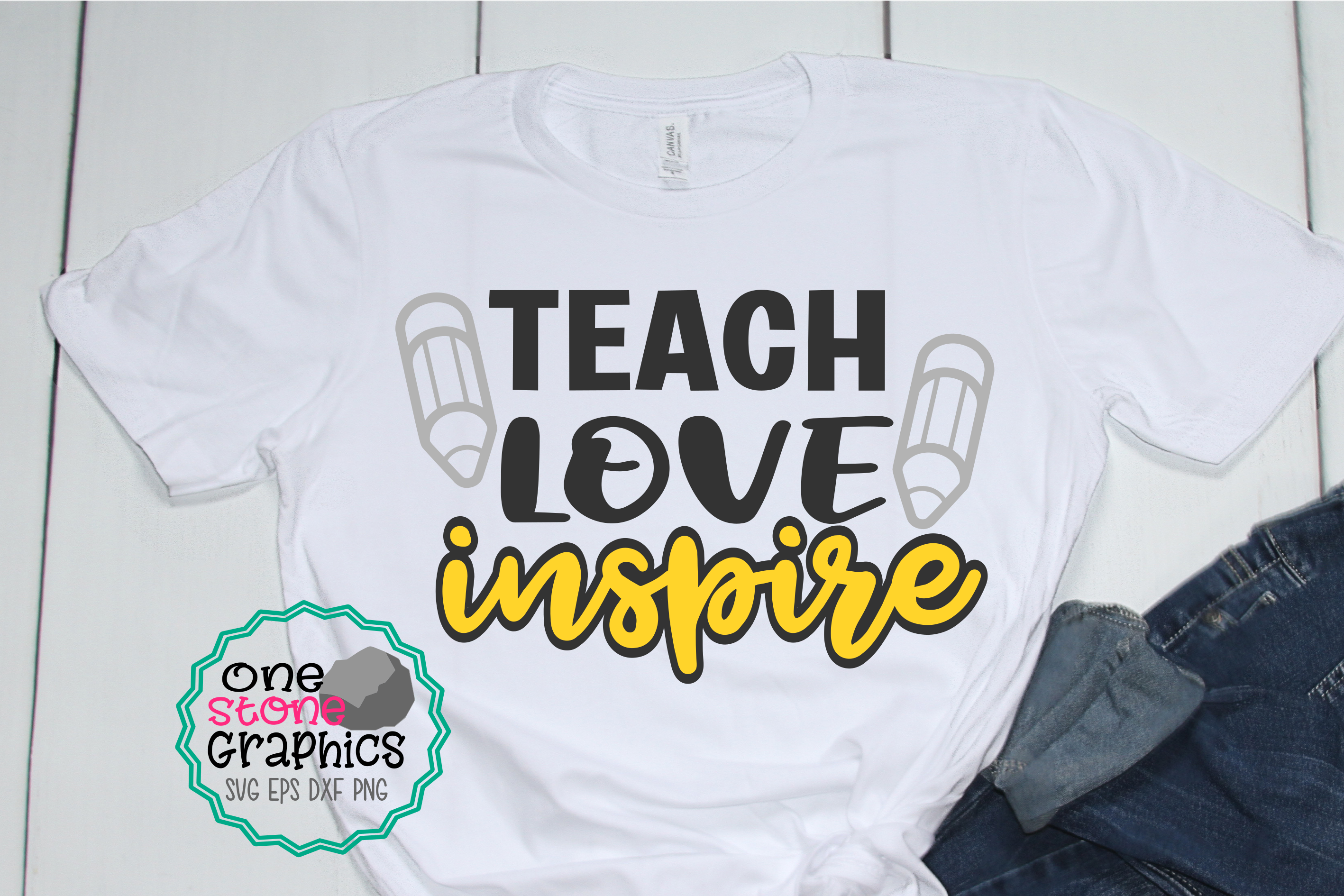 Download Free Teach Love Inspire Svg Teacher Svg Graphic By Onestonegraphics SVG Cut Files
