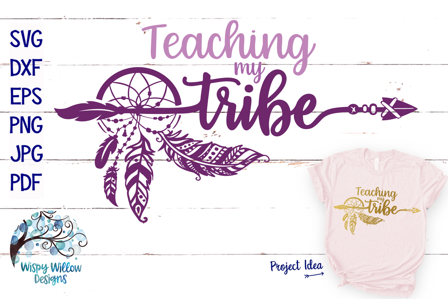 Download Free Teaching My Tribe Dreamcatcher Svg Graphic By Wispywillowdesigns for Cricut Explore, Silhouette and other cutting machines.