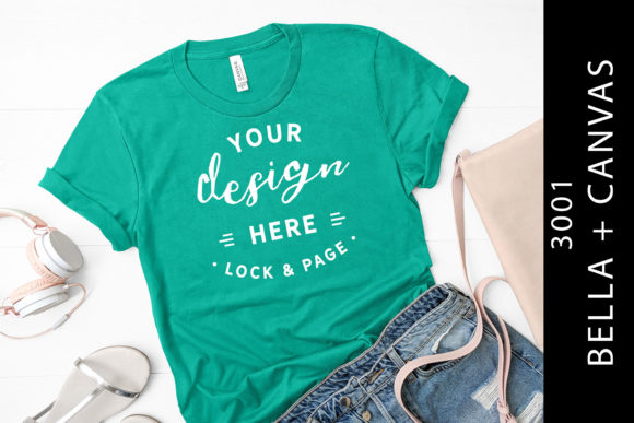 Teal Bella Canvas 3001 T Shirt Mockup Graphic Product Mockups By lockandpage
