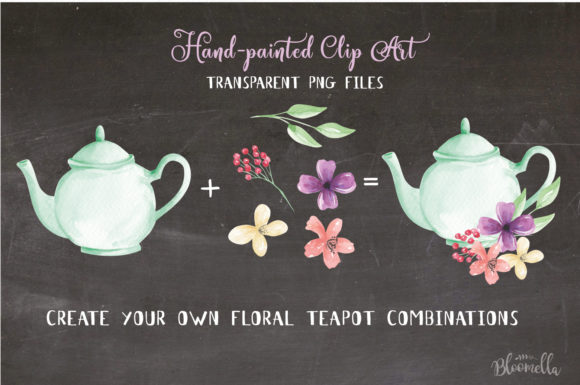 Teapot and Flower Elements Watercolor Graphic By Bloomella Image 2