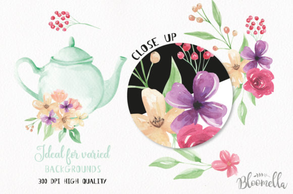 Teapot and Flower Elements Watercolor Graphic By Bloomella Image 3