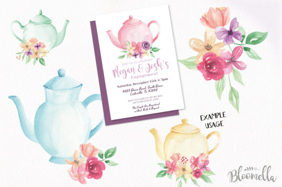 Teapot and Flower Elements Watercolor Graphic By Bloomella Image 4
