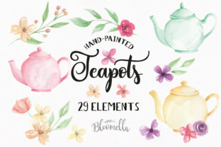 Teapot and Flower Elements Watercolor Graphic By Bloomella