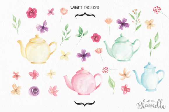 Teapot and Flower Elements Watercolor Graphic By Bloomella Image 5