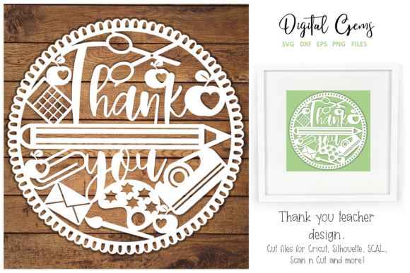 Download Free Thank You Teacher Paper Cut Design Graphic By Digital Gems for Cricut Explore, Silhouette and other cutting machines.