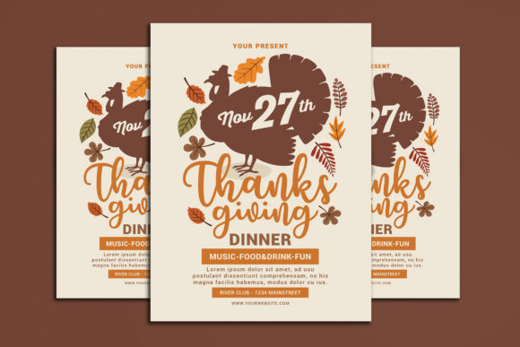 Thanksgiving Flyer Graphic Print Templates By muhamadiqbalhidayat