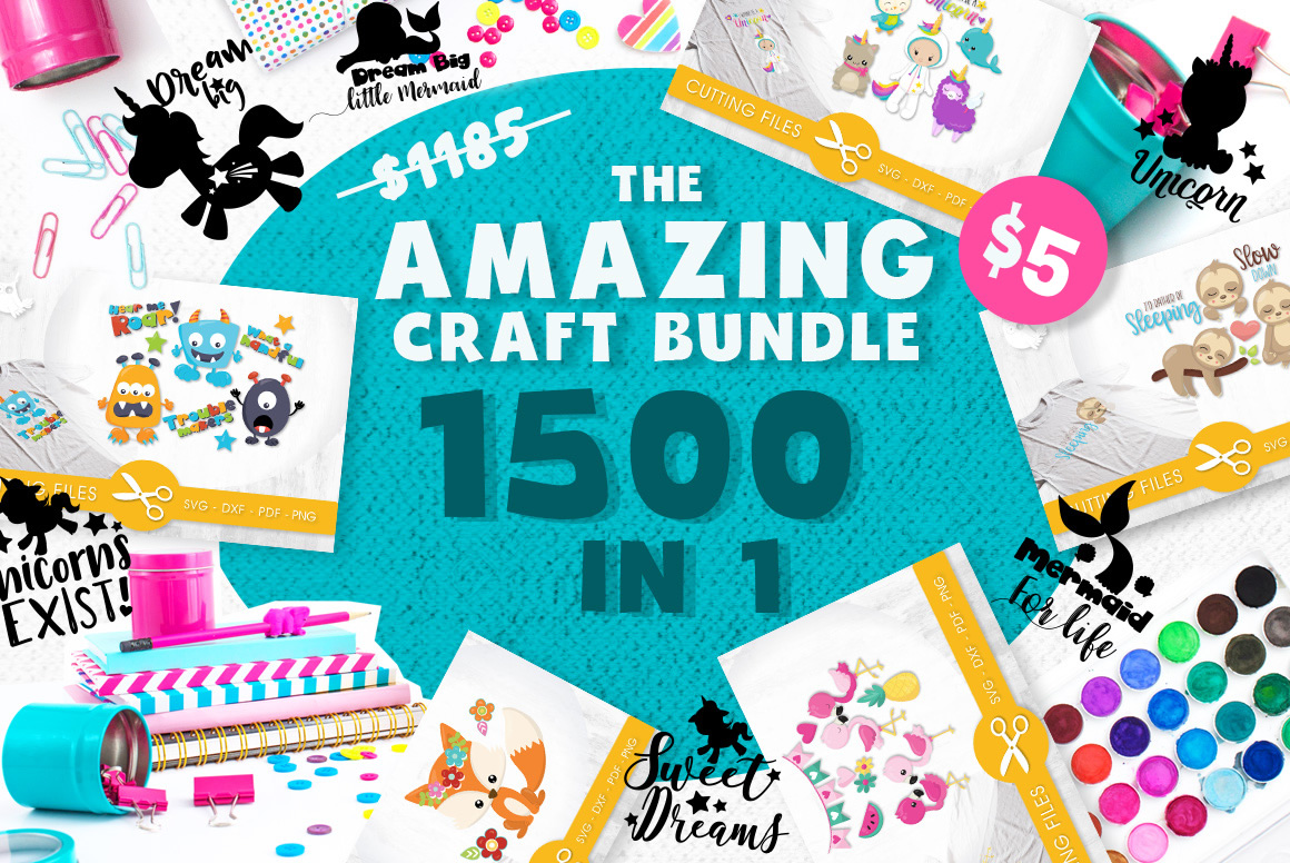 Download Free The Amazing Craft Bundle 1500 Designs In 1 Pack Graphic By for Cricut Explore, Silhouette and other cutting machines.