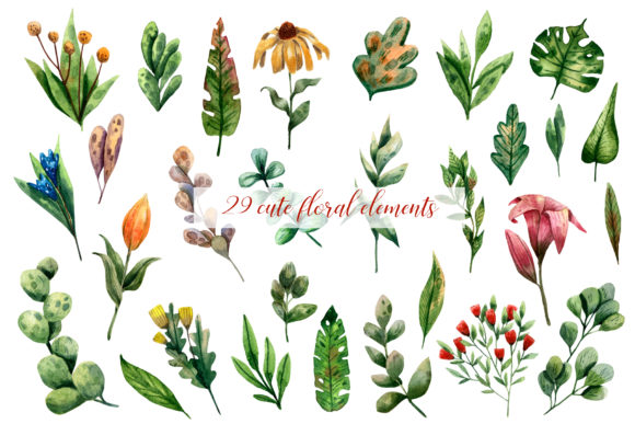 Download Free The Magic Garden Watercolor Clip Art Graphic By Mashamashastu for Cricut Explore, Silhouette and other cutting machines.