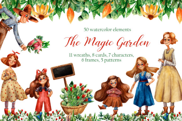 The Magic Garden - Watercolor Clip Art Graphic Illustrations By mashamashastu