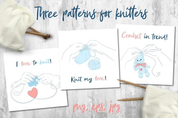 Three Patterns for Knitters Graphic By nicjulia Image 1