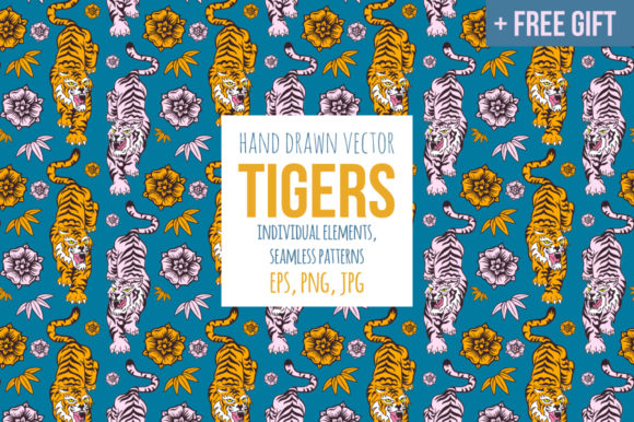 Print on Demand: Tigers Graphic Illustrations By annamagenta