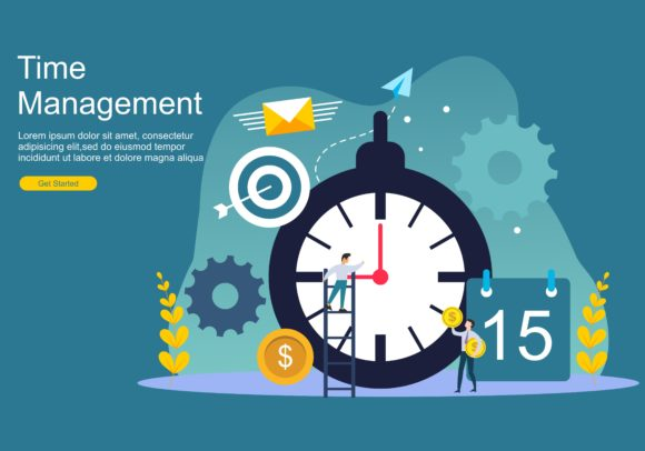 Time Management and Procrastination Web Graphic Web Templates By DEEMKA STUDIO