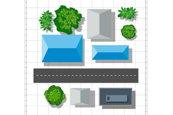 Print on Demand: Top View of the City Graphic Backgrounds By AlexZel