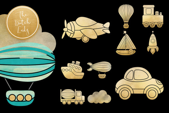 Print on Demand: Transportation & Travel Clipart Set Graphic Illustrations By daphnepopuliers - Image 4