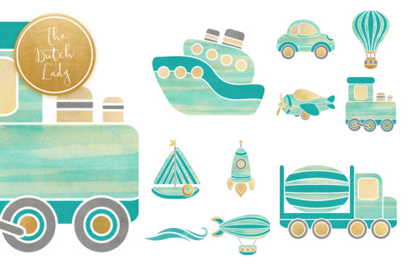 Print on Demand: Transportation & Travel Clipart Set Graphic Illustrations By daphnepopuliers - Image 5
