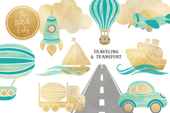 Print on Demand: Transportation & Travel Clipart Set Graphic Illustrations By daphnepopuliers