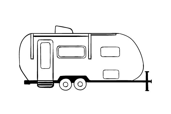 Travel Trailer Line Art Drawing Designs & Drawings Craft Cut File By Creative Fabrica Crafts - Image 1