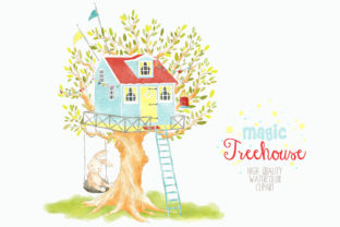 Treehouse Watercolor Clipart Graphic Graphic By kabankova