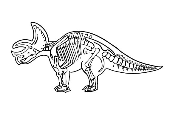 Download Free Triceratops Outline With Skeleton Svg Cut File By Creative for Cricut Explore, Silhouette and other cutting machines.