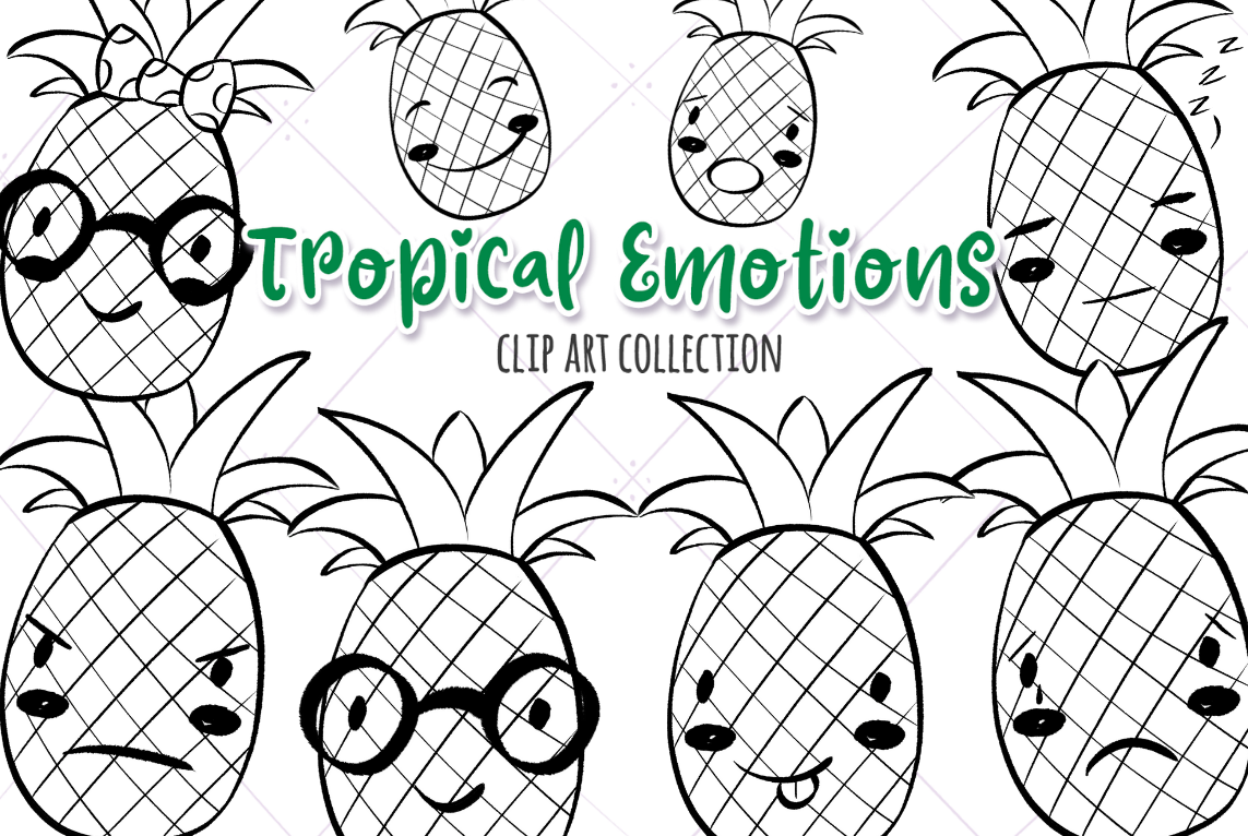 Download Free Tropical Emotions Black And White Graphic By for Cricut Explore, Silhouette and other cutting machines.