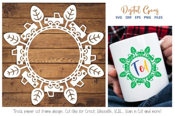 Download Free Truck Monogram Frame Paper Cut Design Graphic By Digital Gems for Cricut Explore, Silhouette and other cutting machines.