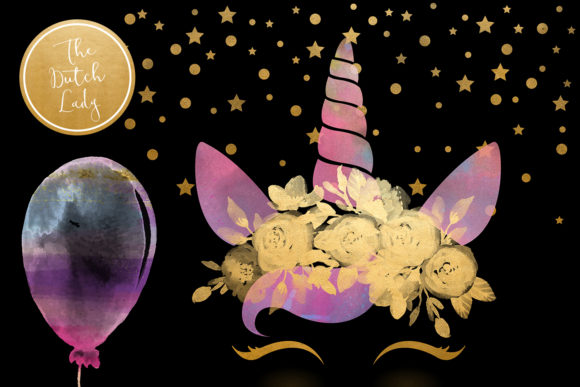 Print on Demand: Unicorn Birthday Party Clipart Set Graphic Illustrations By daphnepopuliers - Image 2