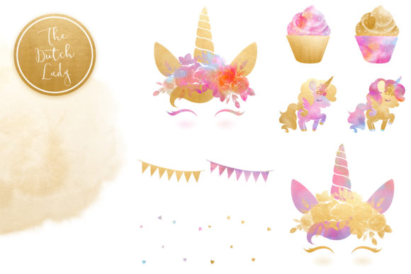 Print on Demand: Unicorn Birthday Party Clipart Set Graphic Illustrations By daphnepopuliers - Image 6