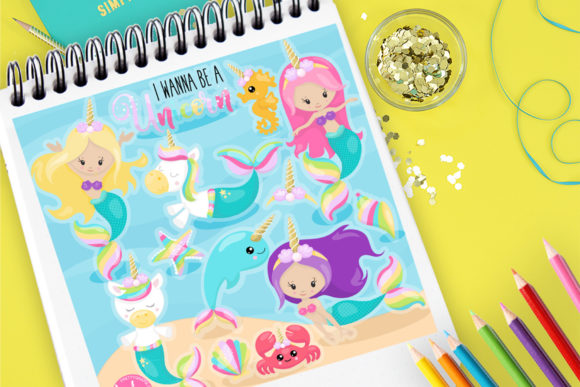 Print on Demand: Unicorn Mermaids Graphic Illustrations By Prettygrafik