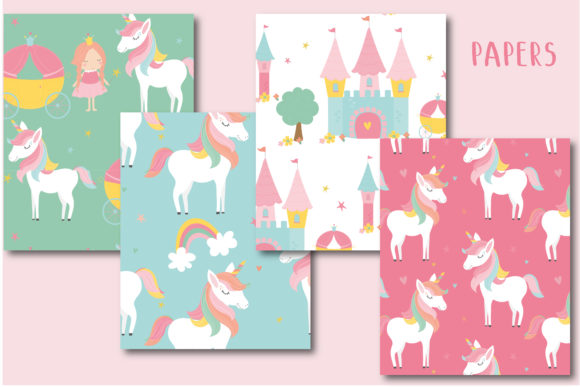 Print on Demand: Unicorn and Princess Paper Graphic Patterns By poppymoondesign - Image 2