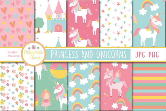 Download Free Unicorn And Princess Paper Graphic By Poppymoondesign Creative for Cricut Explore, Silhouette and other cutting machines.