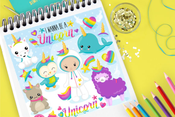 Print on Demand: Unicorns Grafik Illustrationen von Prettygrafik