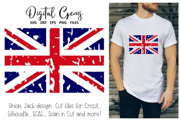 Download Free Union Jack Flag Distressed Style Design Graphic By Digital Gems for Cricut Explore, Silhouette and other cutting machines.