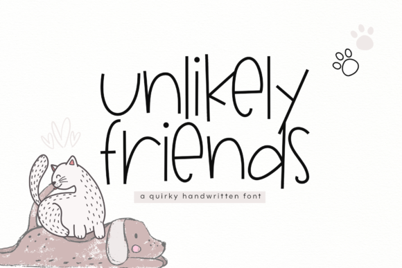 Print on Demand: Unlikely Friends Display Font By KA Designs