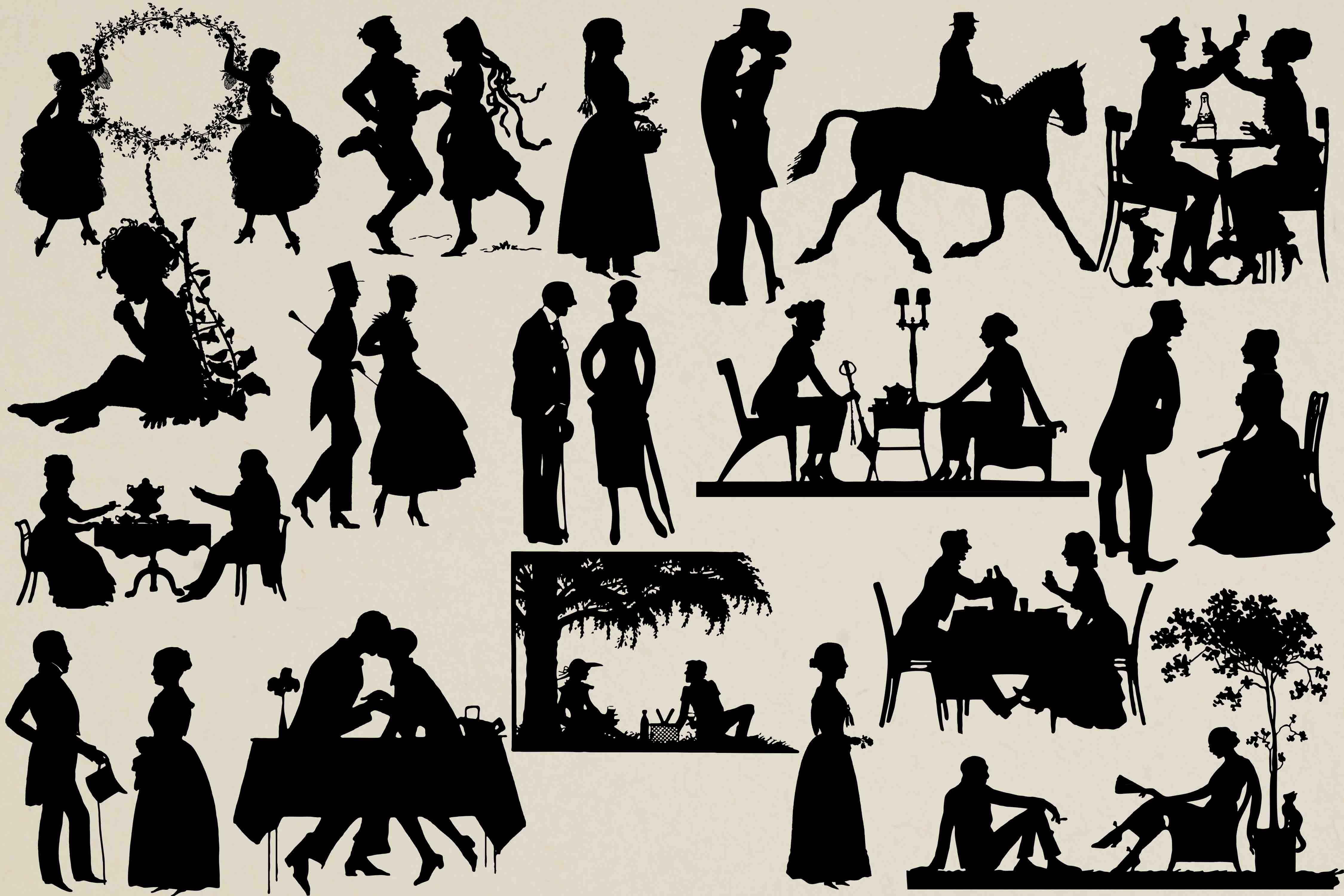 Download Free Vintage Silhouettes Graphic By Retrowalldecor Creative Fabrica for Cricut Explore, Silhouette and other cutting machines.