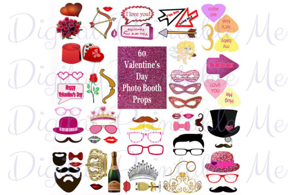 Download Free Valentine S Day Photo Booth Props Pink Graphic By for Cricut Explore, Silhouette and other cutting machines.