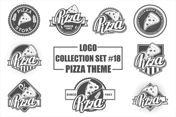 Print on Demand: Vector Logo Bundle with Pizza Theme Gráfico Logos Por azkaryzki