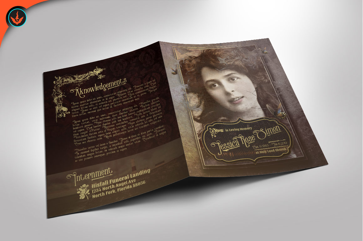 Download Free Victorian Style Funeral Program Graphic By Seraphimchris for Cricut Explore, Silhouette and other cutting machines.