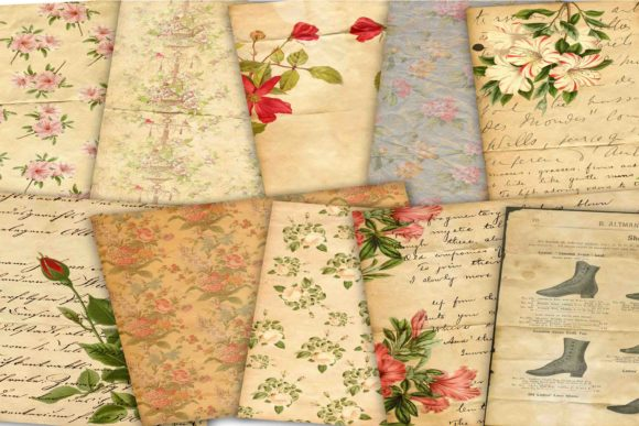 Print on Demand: Vintage Digital Paper Graphic Backgrounds By retrowalldecor - Image 2