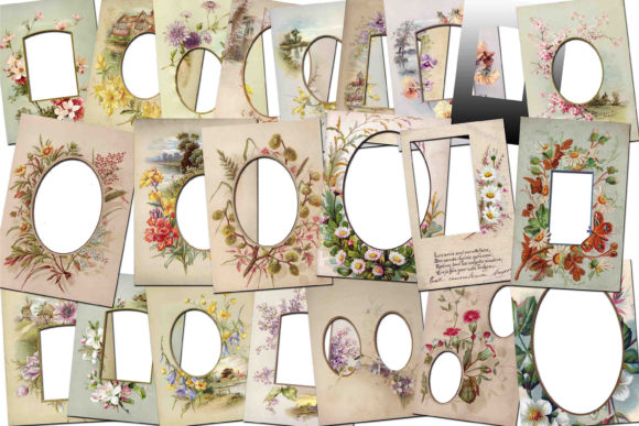 Print on Demand: Vintage Floral Frames Graphic Illustrations By retrowalldecor - Image 1