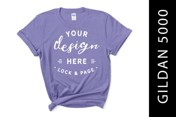 Violet Gildan 5000 Mockup Tee for Girls Graphic Product Mockups By lockandpage
