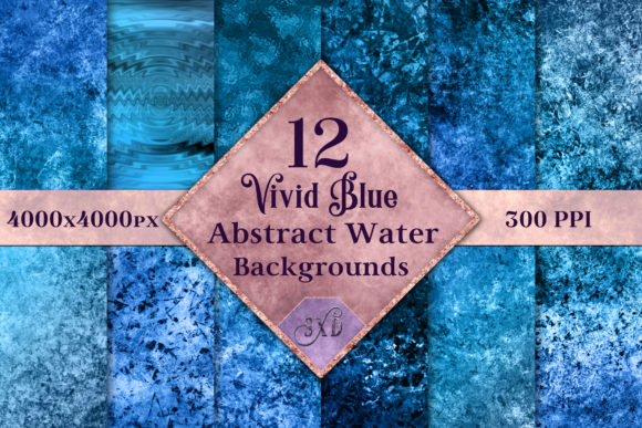 Print on Demand: Vivid Blue Abstract Water Backgrounds Graphic Backgrounds By SapphireXDesigns